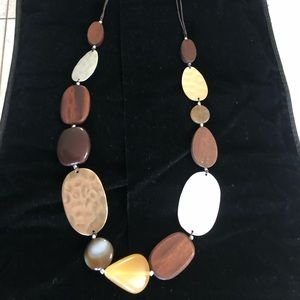 J jill 18 in.metal,wood & leather strap necklace